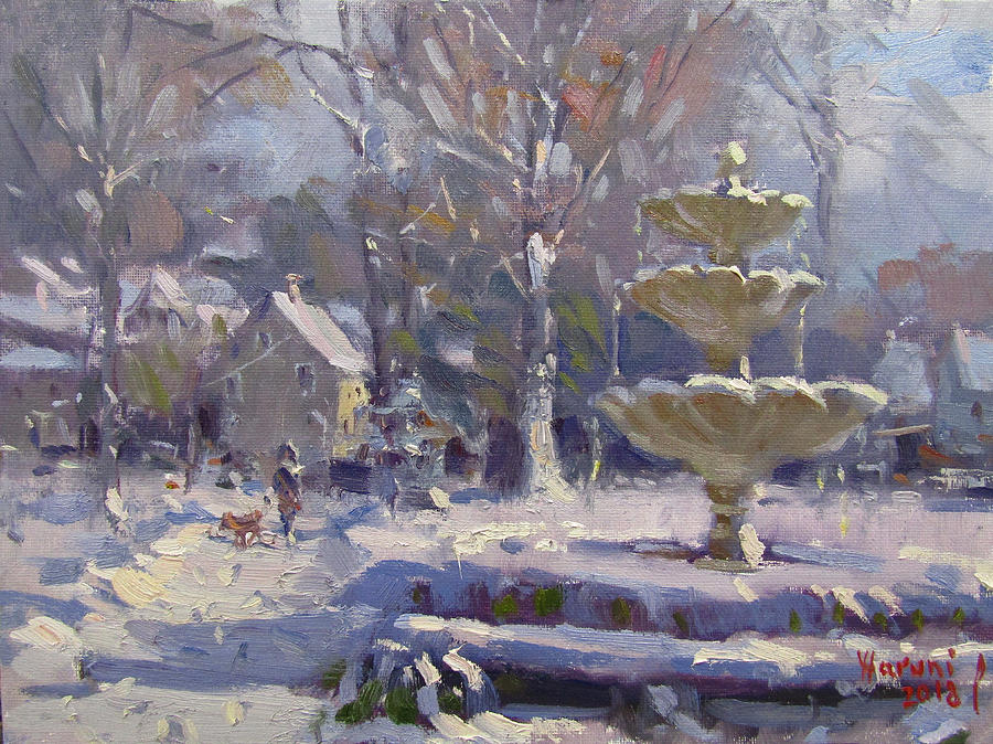 Winter Scene Painting - The Frozen Fountain by Ylli Haruni