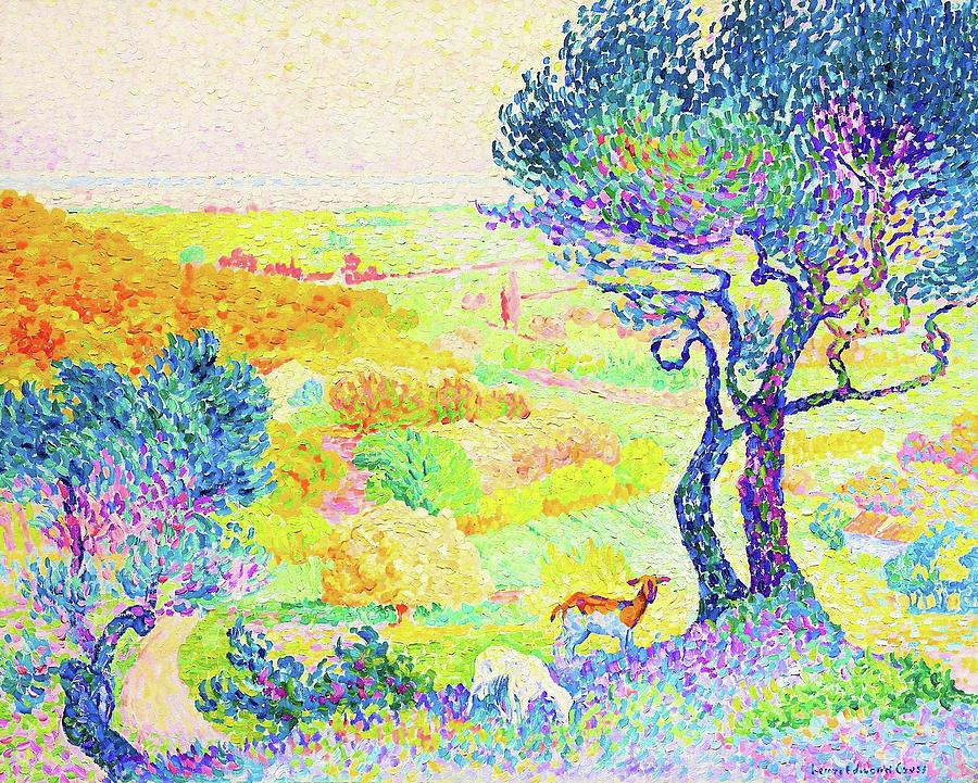 Goat Painting - The Full Of Bormes - Digital Remastered Edition by Henri Edmond Cross