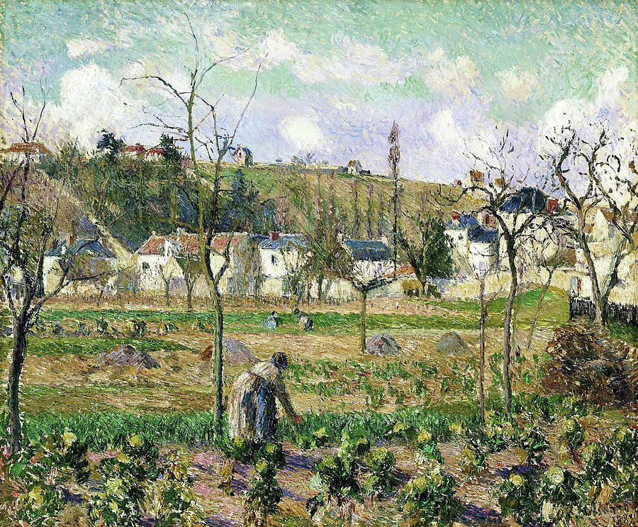 Pontoise Painting - The Garden At Maubuisson, Pontoise, And Mother Bellette - Digital Remastered Edition by Camille Pissarro