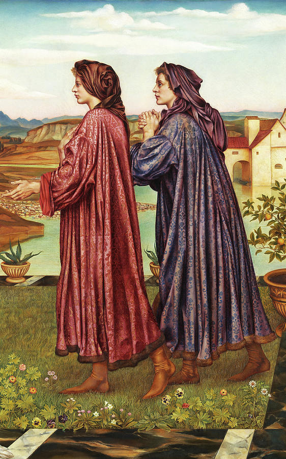Evelyn De Morgan Painting - The Garden Of Opportunity, Medieval Students, 1892 by Evelyn De Morgan
