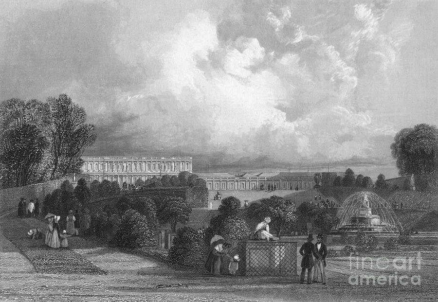 The Garden Of Versailles, 1839 Drawing by Print Collector