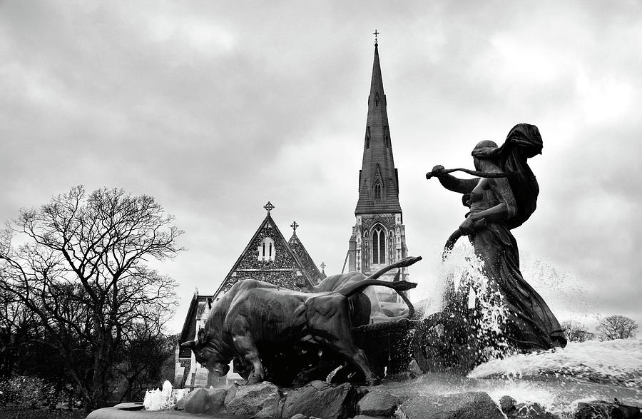 The Gefion fountain with St. Alban's English Church in Copenhagen BW by RicardMN Photography