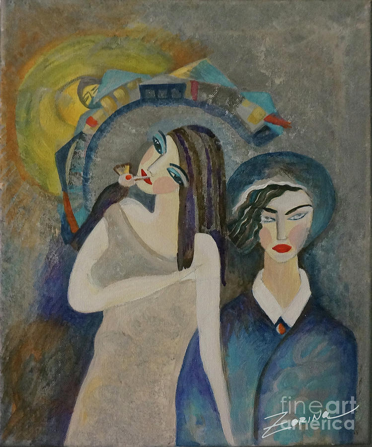 Bird Painting - The Girl Is Feeding The Bird by Zorina Kunkina
