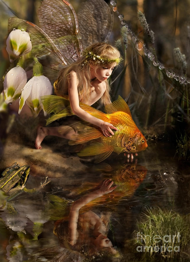 Magic Photograph - The Girl Releases A Gold Fish by Liliya Kulianionak