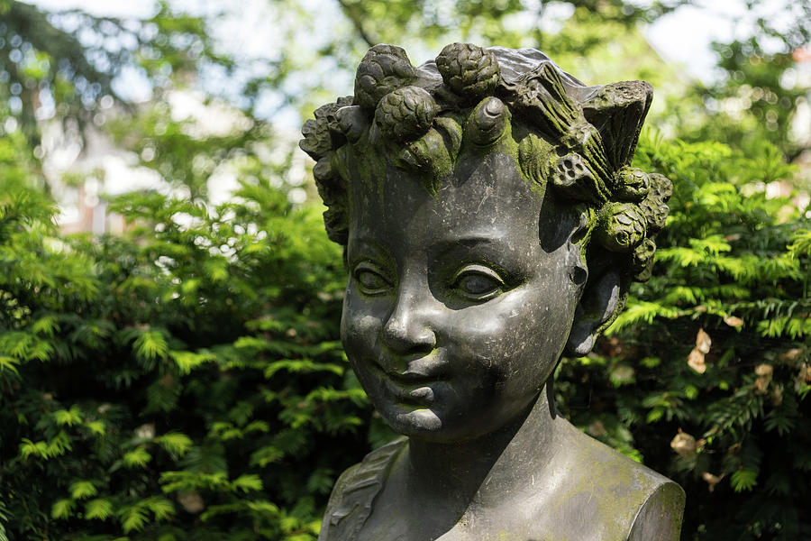 The Girl with the Pinecone Tiara - a Lovely Bronze Sculpture Bust in a Garden by Georgia Mizuleva