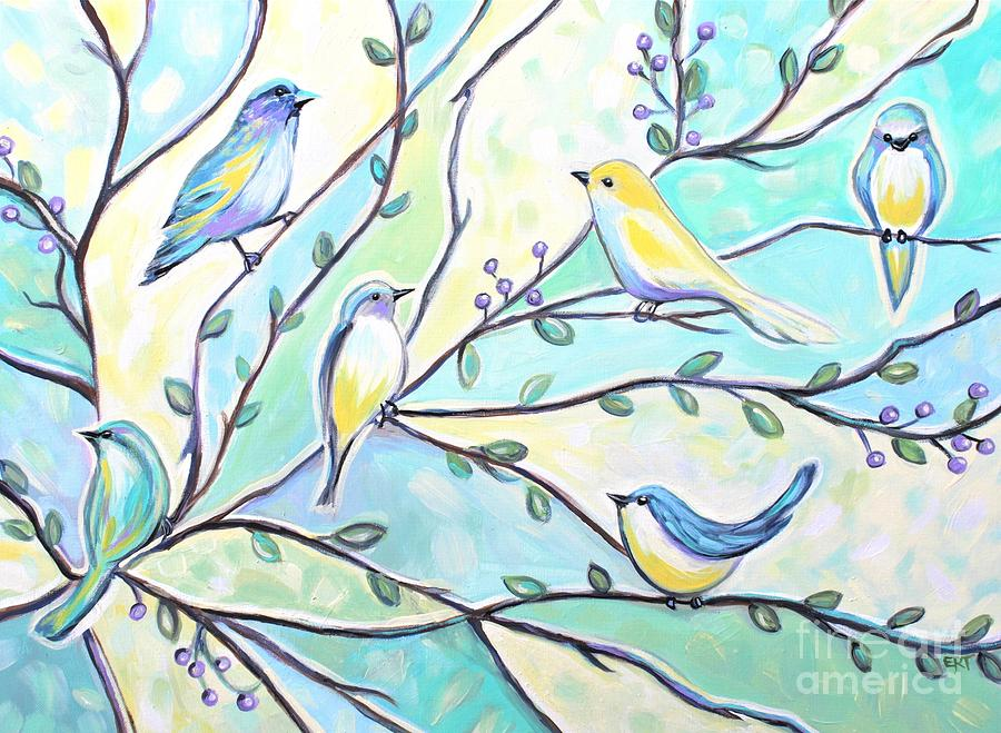 Birds Painting - The Glass Birds by Elizabeth Robinette Tyndall