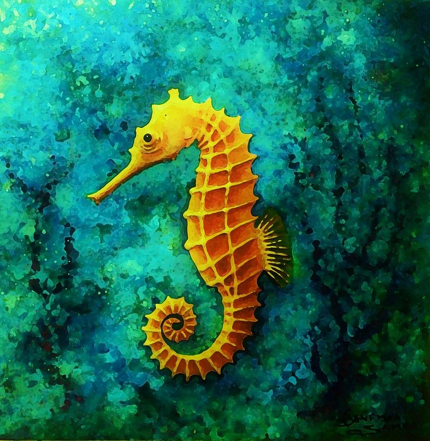 The Gold Seahorse Painting By Samra Art