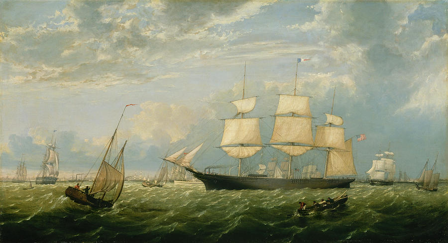 The Golden State Entering New York Harbor. by Fitz Henry Lane -formerly Fitz Hugh Lane-