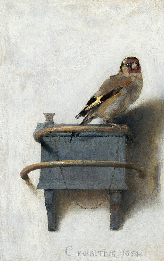 Carel Fabritius Painting - The Goldfinch, Het Puttertje, 1654 by Carel Fabritius