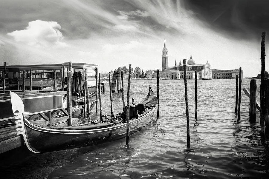 Venice Photograph - The Gondola Stop Venice Italy Black And White by Carol Japp