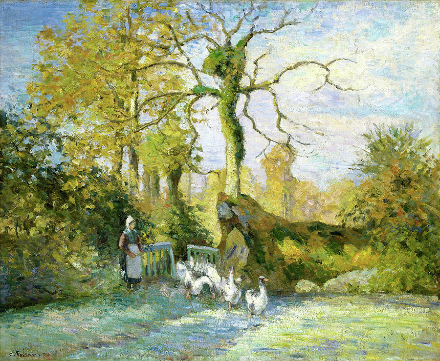 Camille Pissarro Painting - The Goose Girl At Montfoucault - Digital Remastered Edition by Camille Pissarro