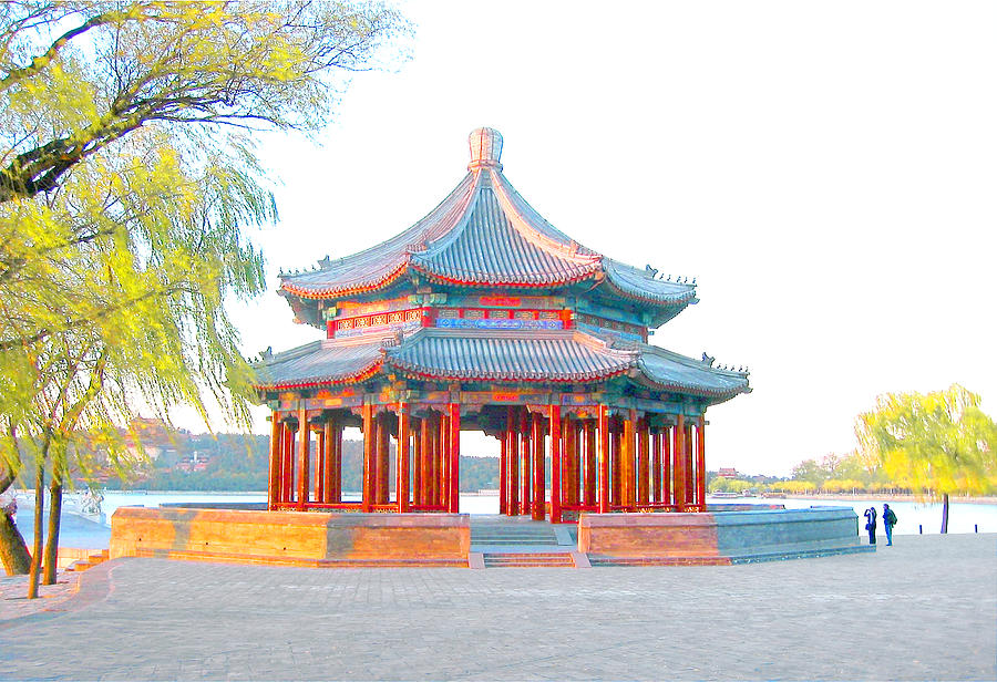 Grand Pavilion Mixed Media - The Grand Pavilion at the Summer Palace in Beijing, China by Steve Clarke