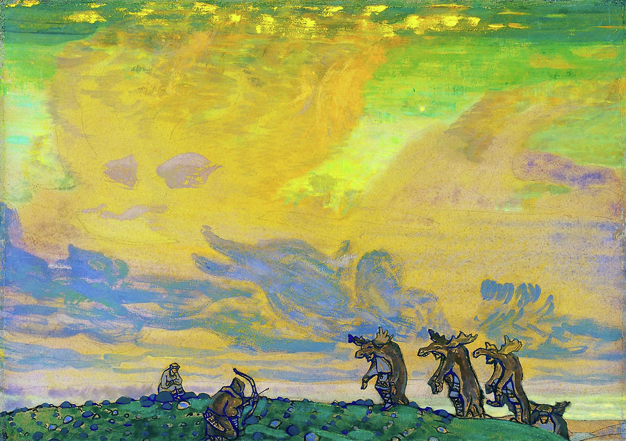 Nicholas Roerich Painting - The Great Sacrifice, Setting For I F Stravinskys Ballet, Sacred Spring by Nicholas Roerich