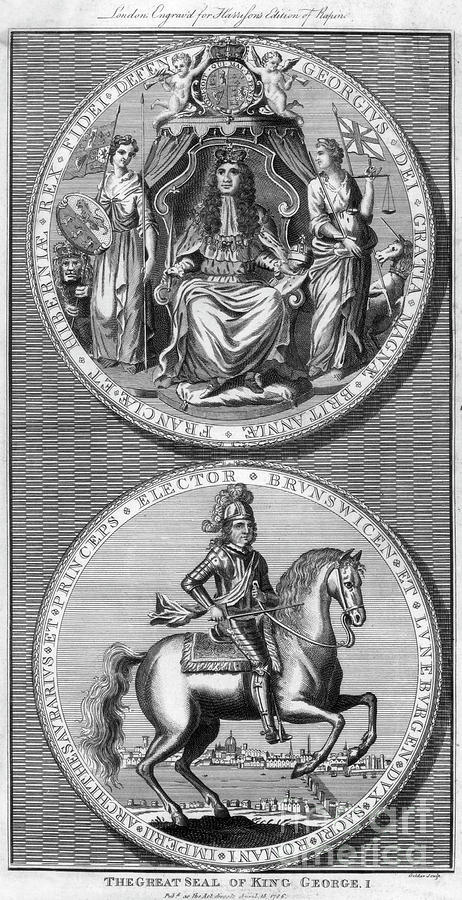 The Great Seal Of King George I, 18th Drawing by Print Collector