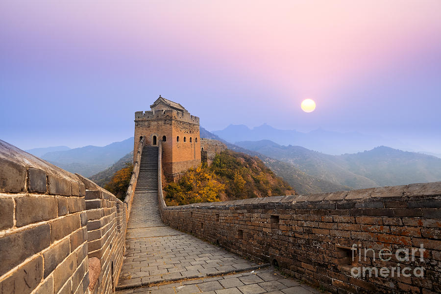 Pink Photograph - The Great Wall Of China At Sunrise by Chuyuss