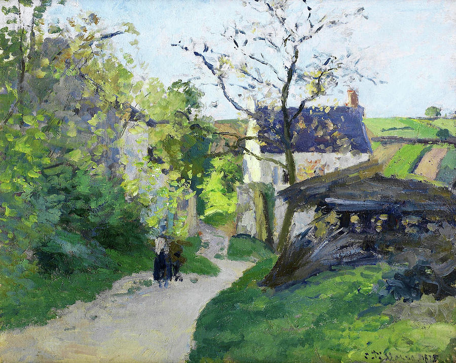 Pontoise Painting - The Great Walnut Tree, The Rondesr House Pontoise - Digital Remastered Edition by Camille Pissarro