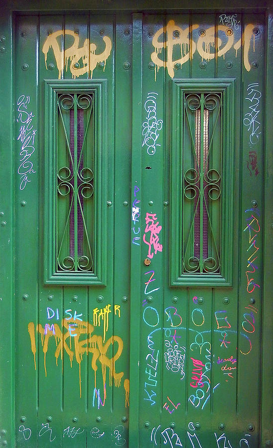 The Green Graffiti Door, Buenos Aires by Kurt Van Wagner