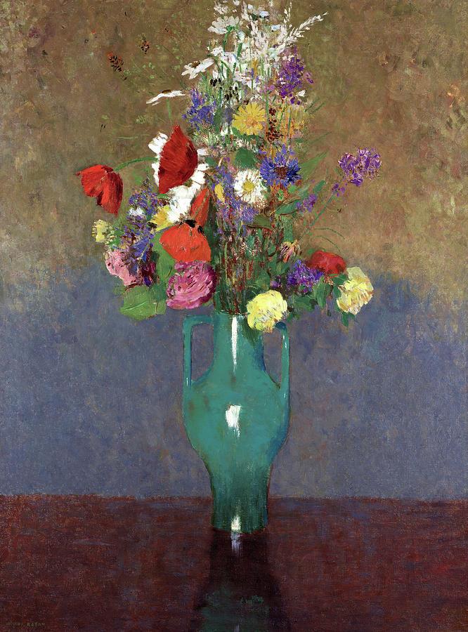 Odilon Redon Painting - The Green Vase, 1900 by Odilon Redon