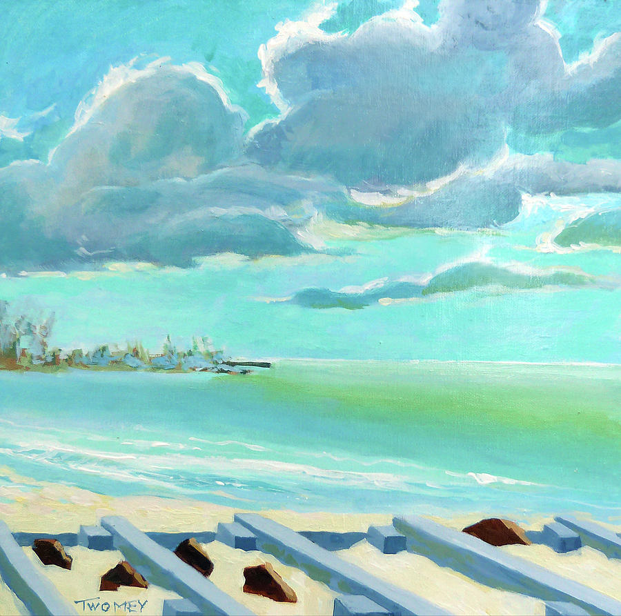 Seascape Painting - The Gulf, The Clouds, The Pier by Catherine Twomey