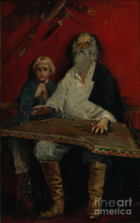 The Gusli Player. Artist Ryabushkin Drawing by Heritage Images