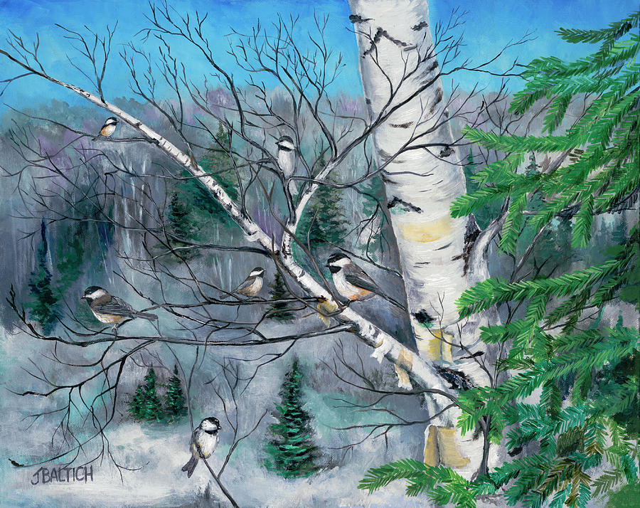Chickadees Painting - The Hangout by Joe Baltich
