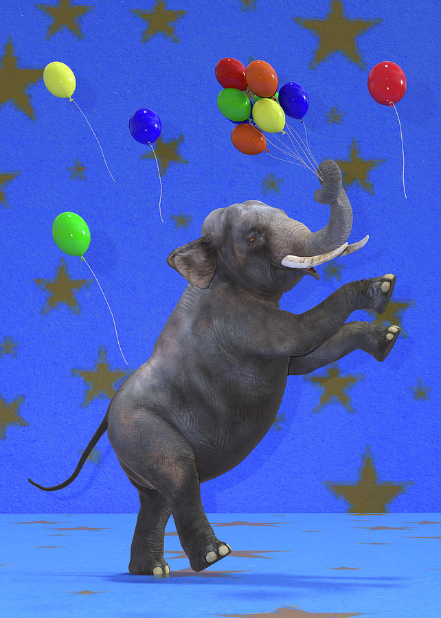 Elephant Digital Art - The Happiest Elephant by Betsy Knapp
