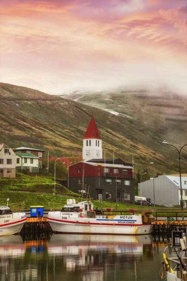 The Harbor Town at Siglufjordur Iceland II by Debra and Dave Vanderlaan