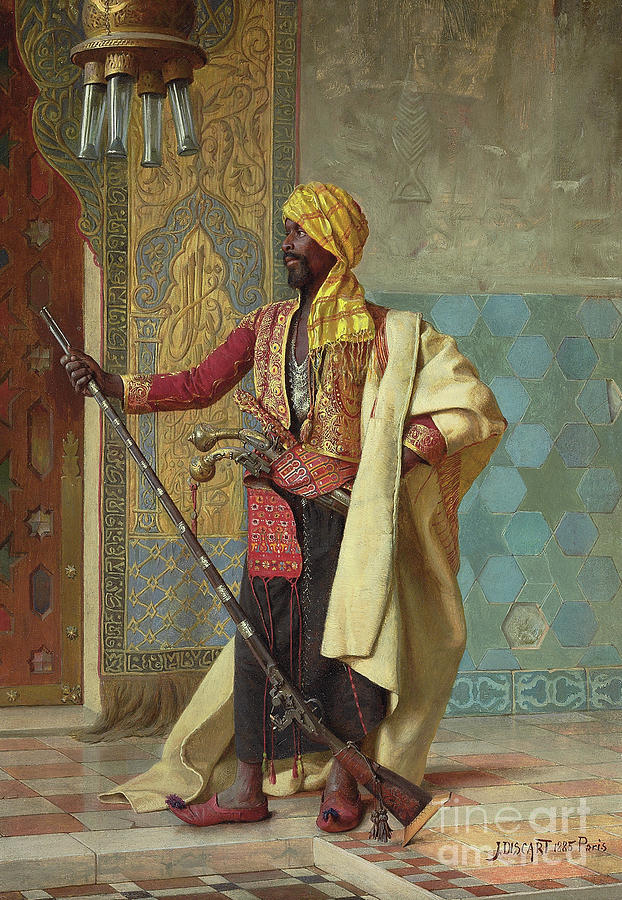 Orientalist Painting - The Harem Guard By Jean Discart by Jean Discart