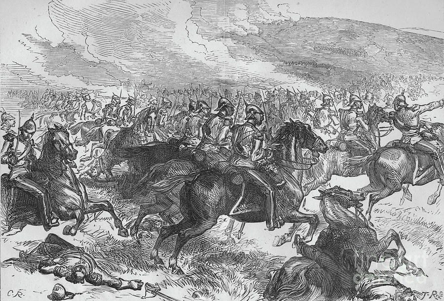 The Heavy Cavalry Charge At Balaclava Drawing by Print Collector