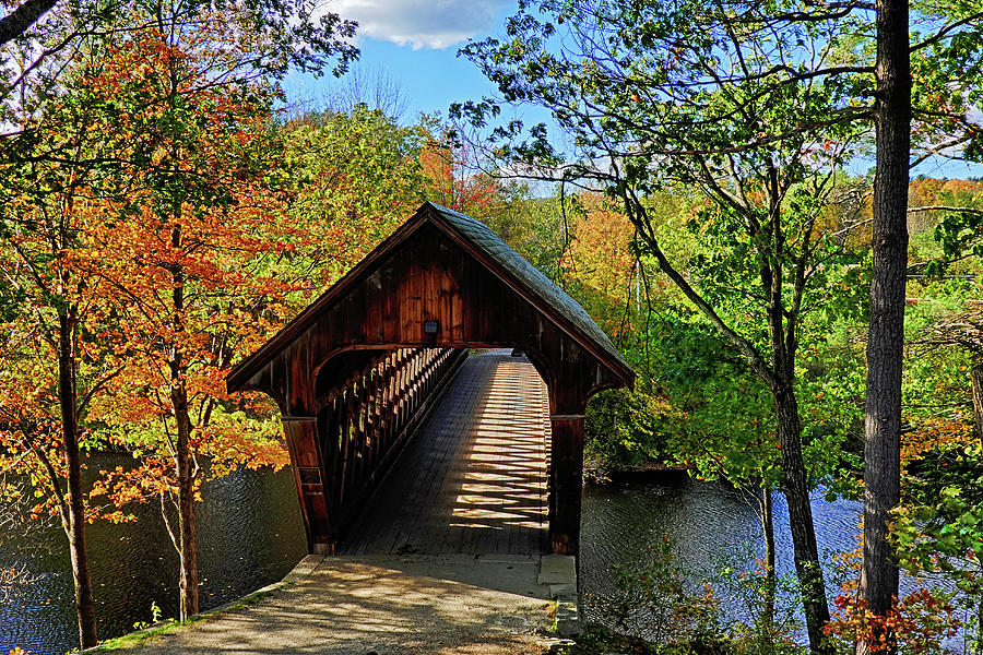 The Henniker Covered Bridge Henniker NH New Hampshire in Autumn Shadows by Toby McGuire