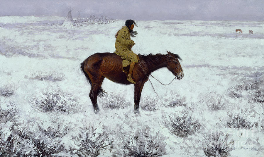 Frederic Remington Painting - The Herd Boy, Circa 1905  by Frederic Remington