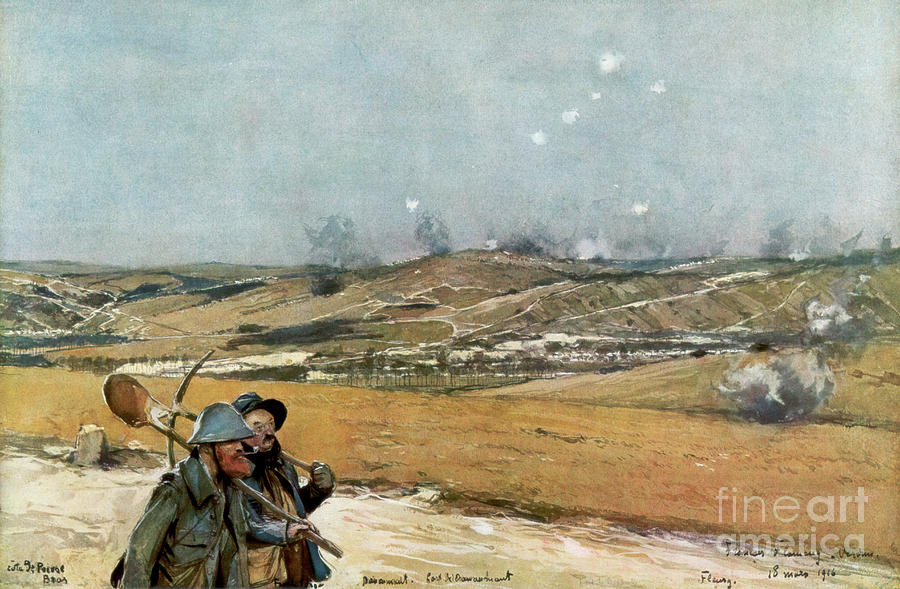 The Hills And Fort Of Douaumont Drawing by Print Collector