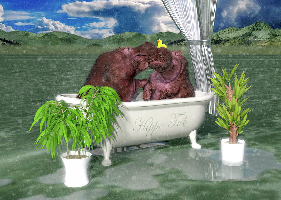 Hippo Digital Art - The Hippo Tub by Betsy Knapp