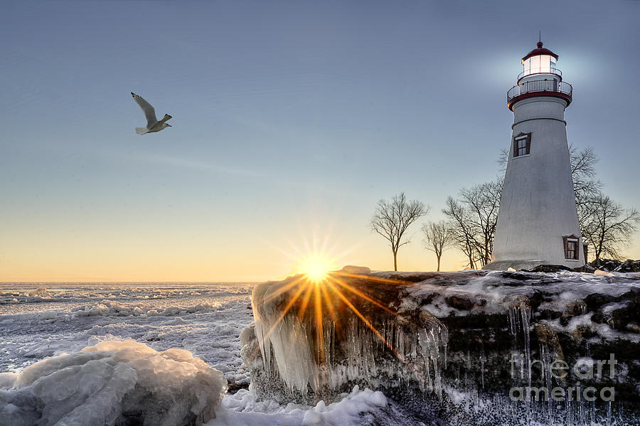 Sunrise Photograph - The Historic Marblehead Lighthouse In by Michael Shake