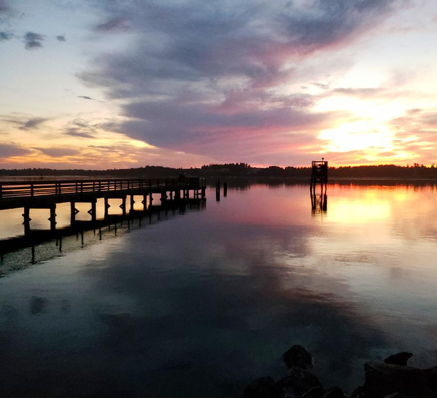 The Hollering Place Pier at Sunset by Suzy Piatt