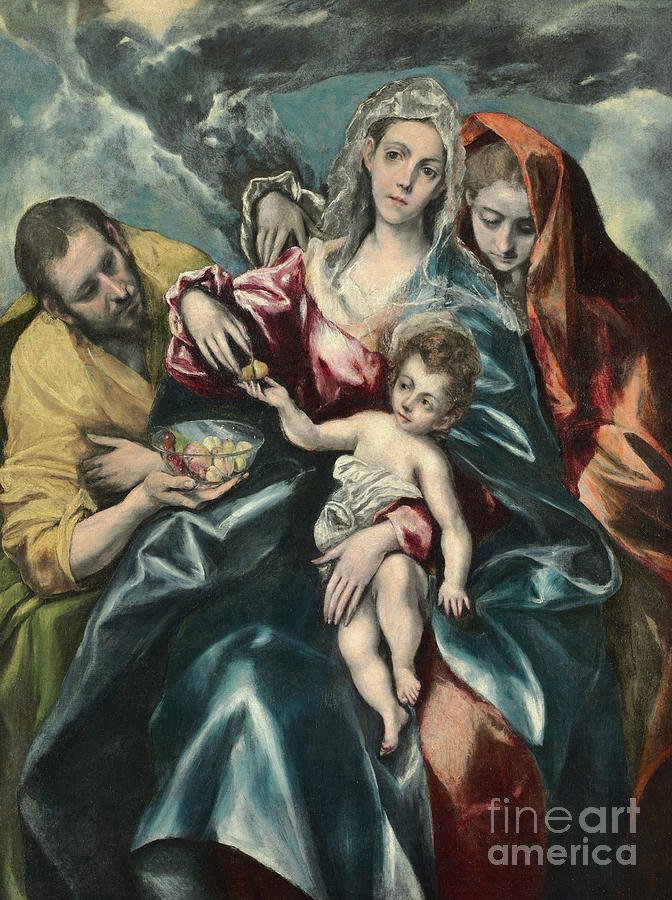 El Greco Painting - The Holy Family With Mary Magdalen by El Greco