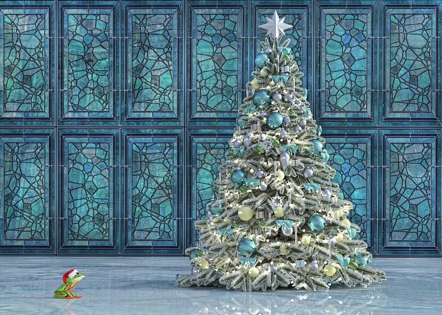 Frog Digital Art - The Hoping Holiday Frog by Betsy Knapp
