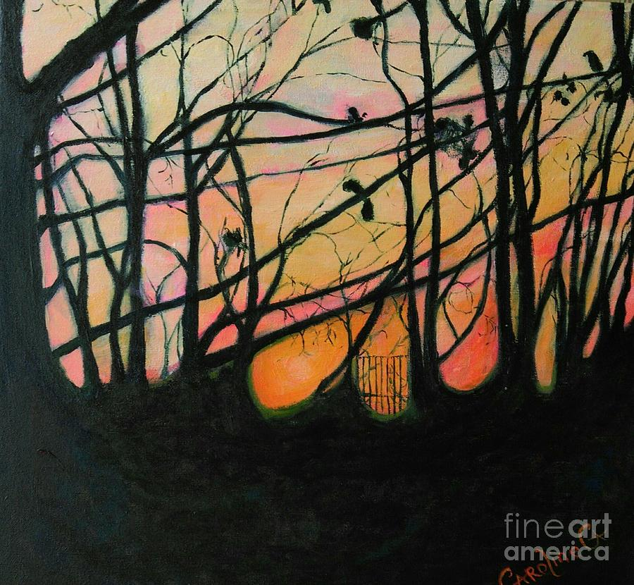Trees Painting - The In Between  by Caroline Cunningham