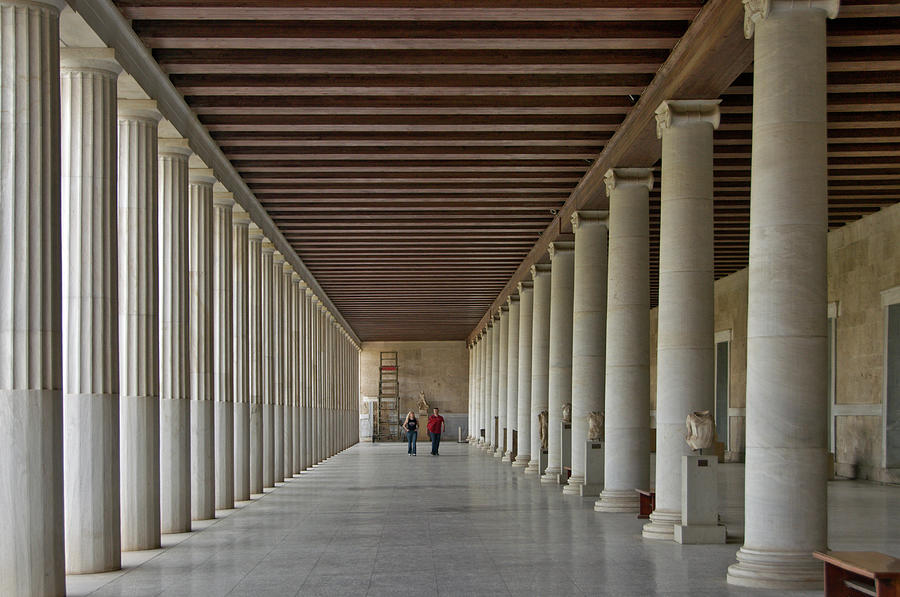 The Inside Of The Restored Stoa Of Photograph by Izzet Keribar