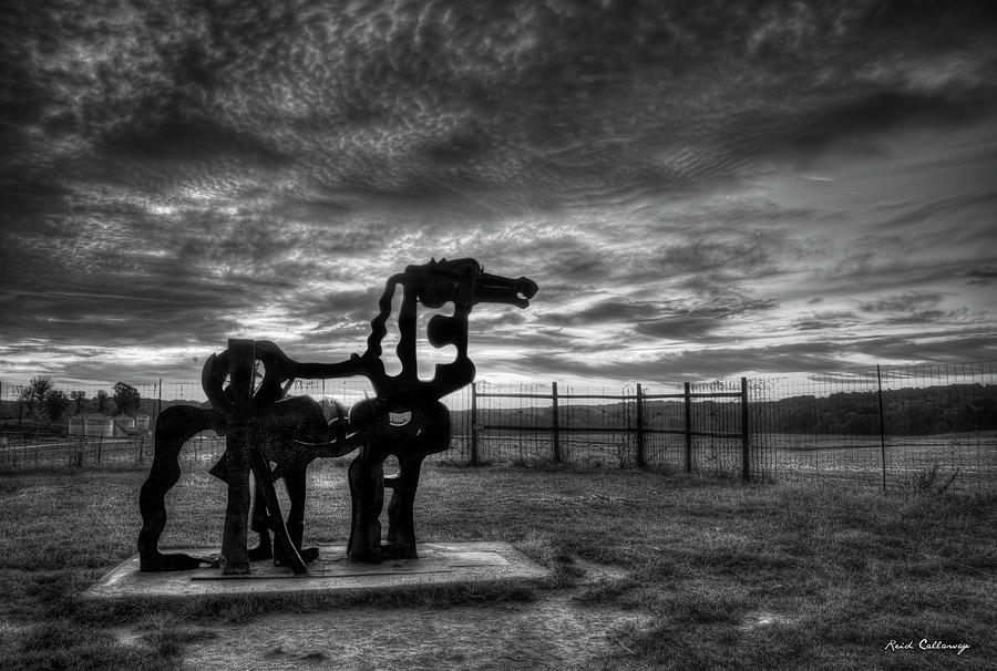 The Iron Horse Sun Up 8 B W University of Georgia Iron Horse Farm Agriculture Landscape Art by Reid Callaway