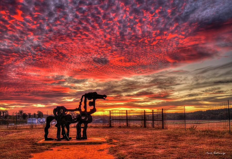 The Iron Horse Sun Up 888 University Of Georgia Iron Horse Farm Agriculture Landscape Art by Reid Callaway