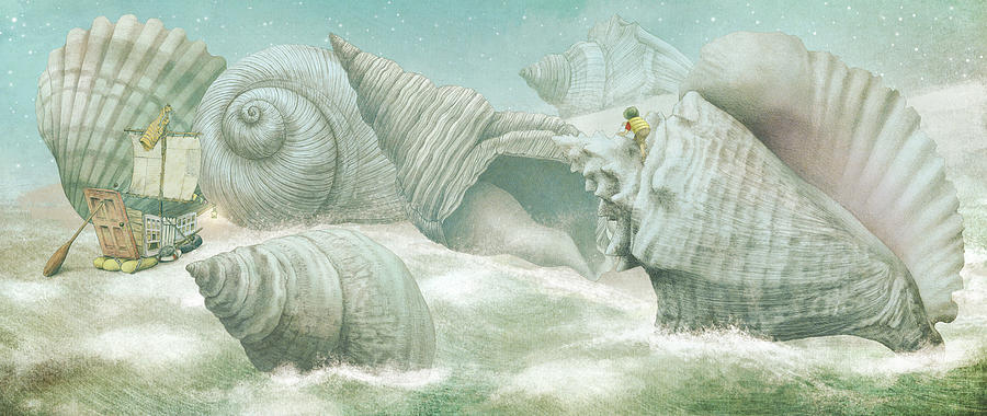 Shells Drawing - The Island of Giant Shells by Eric Fan