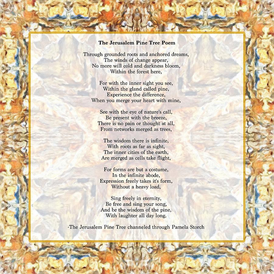 The Jerusalem Pine Tree Poem Digital Art By Pamela Storch Is it that they are born again and we grow old? the jerusalem pine tree poem by pamela storch