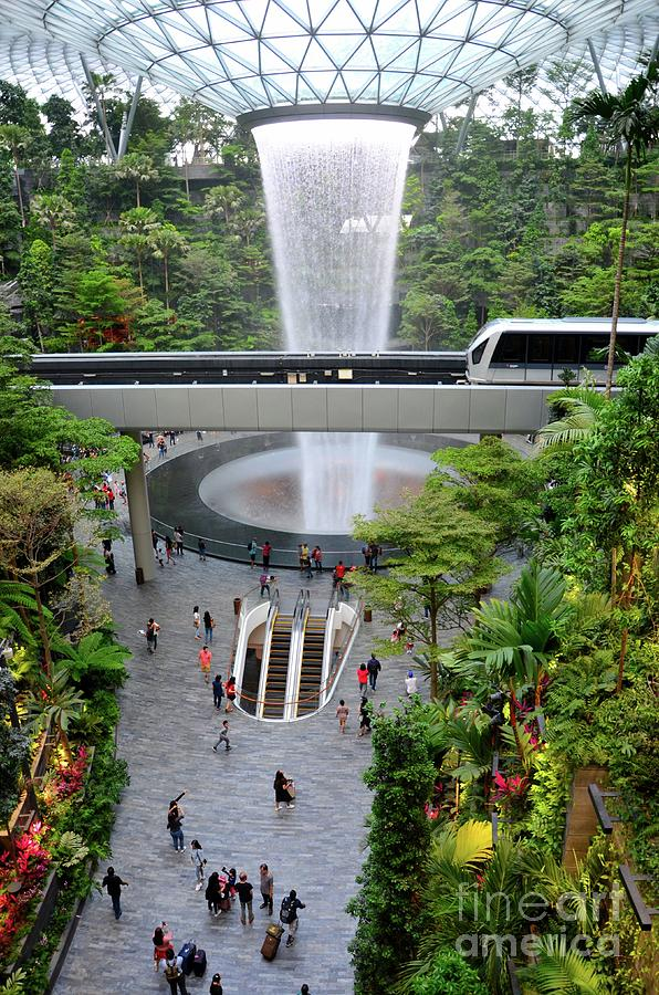 The Jewel waterfall monorail gardens and visitors Changi Airport Singapore  by Imran Ahmed