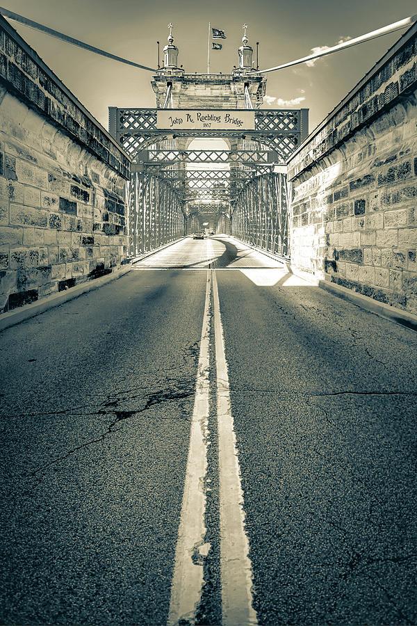 America Photograph - The John A. Roebling Bridge - Cincinnati Ohio Sepia by Gregory Ballos