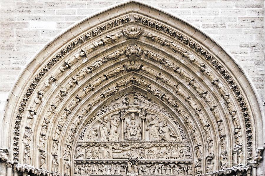 Notre Dame Photograph - The Judgement Portal Of Notre Dame De Paris by Delphimages Photo Creations