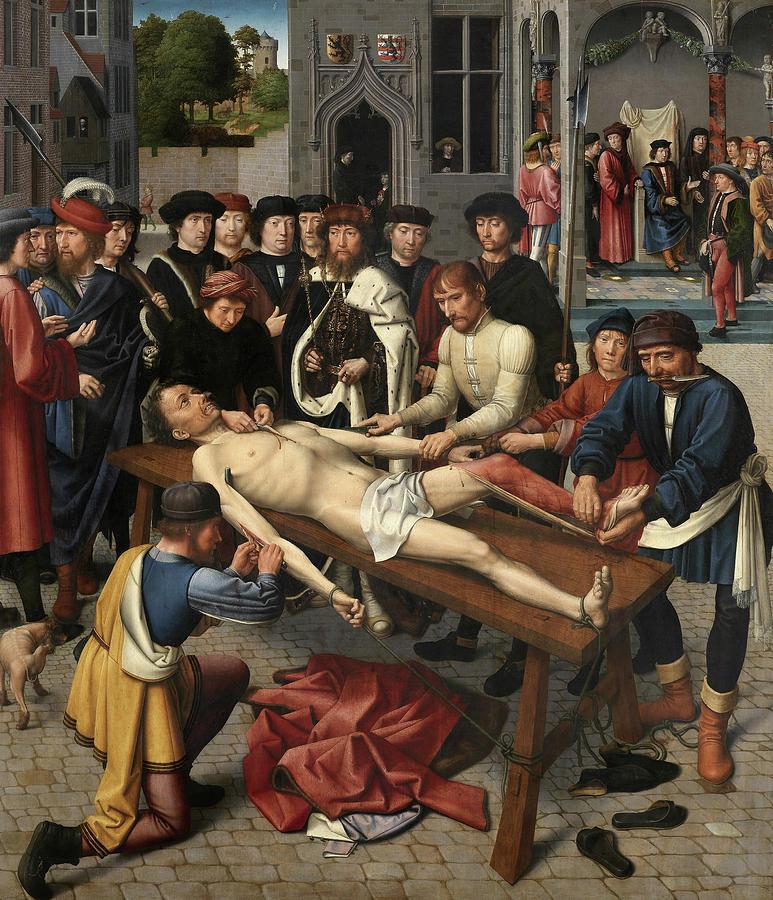 Gerard David Painting - The Judgment Of Cambyses, Flaying Of Sisamnes by Gerard David