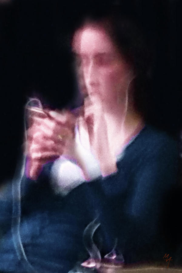 The Lady with Smart Phone by Attila Meszlenyi