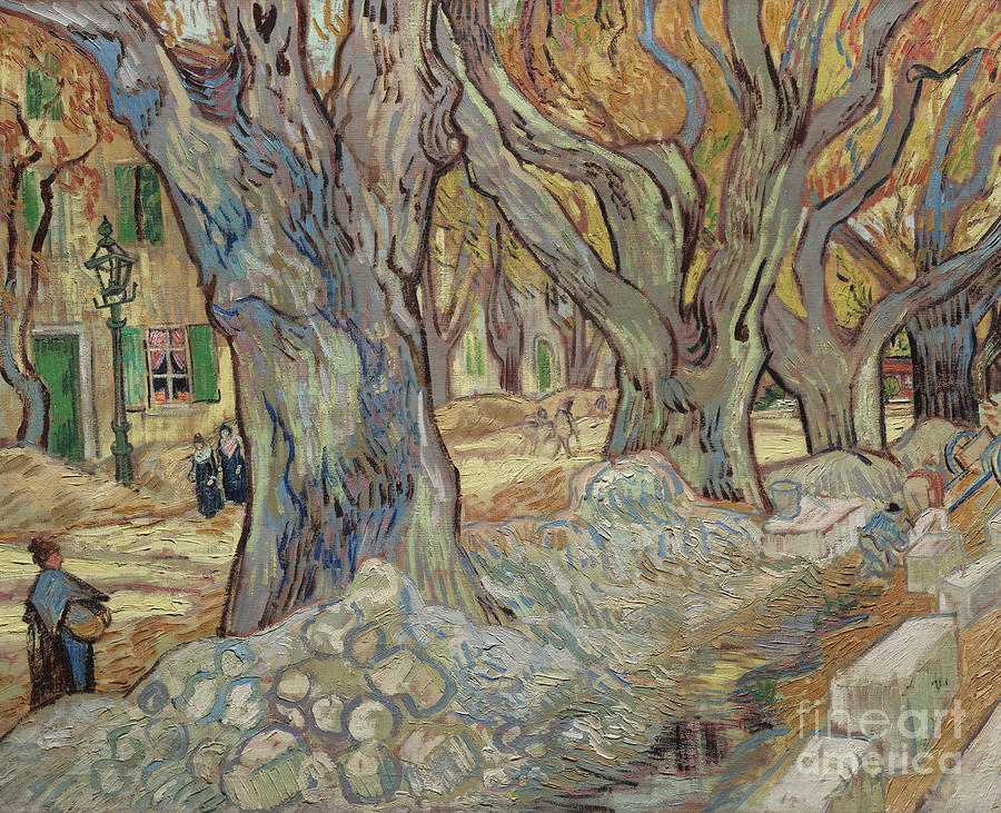 Van Gogh Painting - The Large Plane Trees, Or Road Menders At Saint Remy, 1889  by Vincent Van Gogh