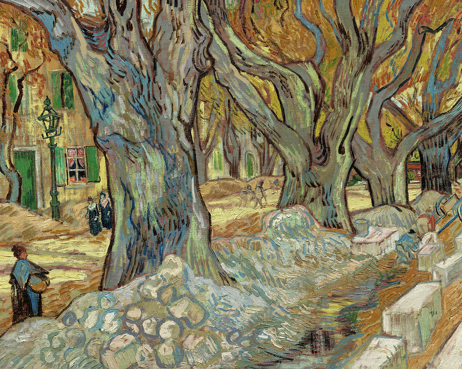 Vincent Van Gogh Painting - The Large Plane Trees, Road Menders At Saint-remy, 1889 by Vincent van Gogh